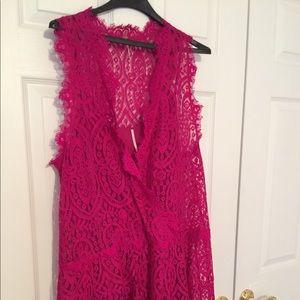 Hot pink lace dress